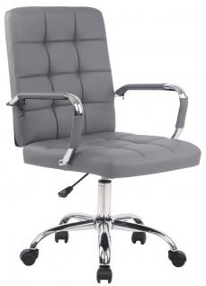 Bürostuhl 120 kg belastbar Kunstleder grau Drehstuhl modern design stabil NEU