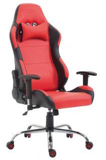 XL Bürostuhl 136 kg belastbar Kunstleder schwarz rot Chefsessel Gamer Zocker