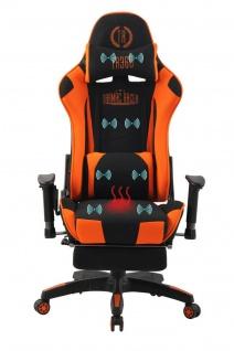 Bürostuhl orange Stoff Chefsessel Wärme- und Massagefunktion Gaming Gamer Zocker