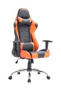 XL Bürostuhl schwarz orange Chefsessel Kunstleder Gaming Gamer Zockersessel neu