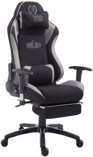 Bürostuhl 150 kg belastbar schwarz grau Stoff Chefsessel Fußablage Zocker Gamer