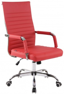 moderner Bürostuhl 120 kg belastbar Kunstleder rot Drehstuhl Chefsessel stabil