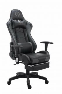 Chefsessel 150kg belastbar schwarz grau Bürostuhl Fußablage Zocker Gamer Gaming