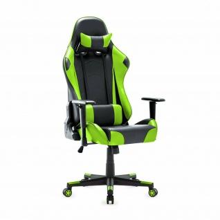 XL Bürostuhl 150kg belastbar grün/schwarz Kunstleder Chefsessel Drehstuhl stabil
