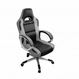 Racing Bürostuhl grau/schwarz 150kg belastbar Chefsessel Drehstuhl stabil robust