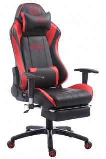 XL Bürostuhl 150kg belastbar schwarz rot Chefsessel Fußablage Zocker Gamer