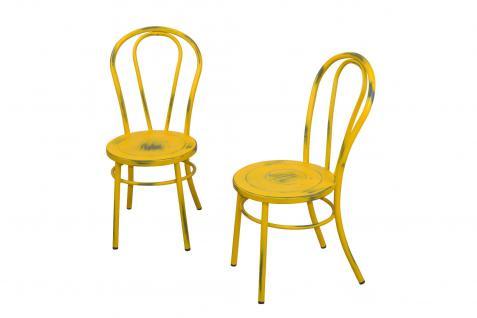 2 x Stühle antik gelb Metallstuhl used look Küche Esszimmer Wohnzimmer Stuhlset