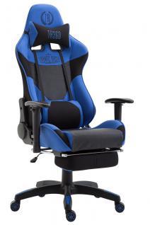 Bürostuhl schwarz blau Stoff Fußablage Chefsessel Zocker Gaming 136 kg belastbar