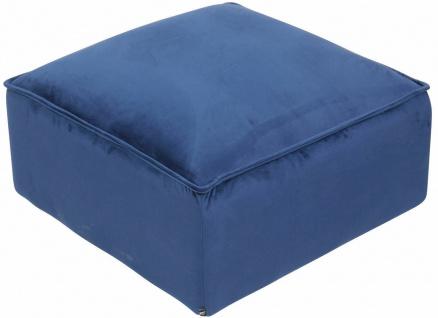 Sitzhocker Samtbezug blau Polsterhocker Sitzpouf Fußhocker modern design NEU