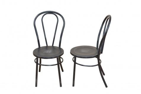 2 x Stühle antik schwarz Metallstuhl used look Küche Esszimmer Wohnzimmer design