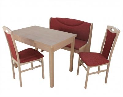 Sitzbankgruppe mit Truhe massiv Buche bordeauxrot Sitzbank Stühle Esstisch