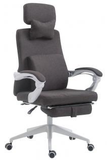 Bürostuhl Stoff dunkelgrau klassisch Chefsessel mit Fußablage hochwertig modern