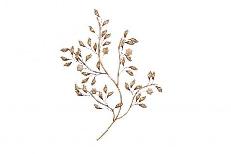 moderne Wanddeko Blätter Blüten Ast Zweig Wandbild Metallbild design Wandschmuck