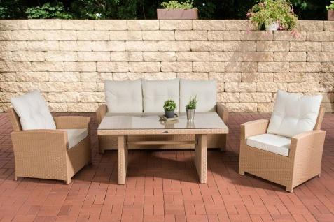 Polyrattan Gartengarnitur sand / weiß Sitzgruppe Essgruppe Rattansessel Tisch