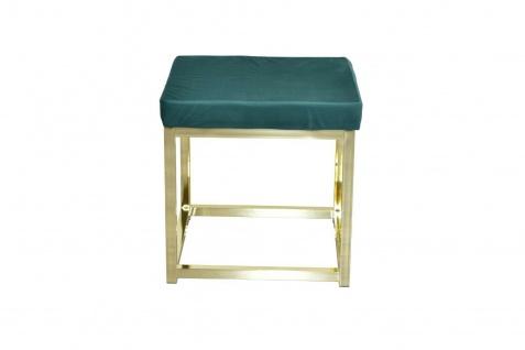 moderner Hocker grün / Messing Hockerbank Polsterhocker Sitz design Sitzwürfel