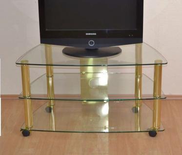 moderner Phonotisch Messing Glas Phonowagen rollbar TV Tisch design Fernsehtisch