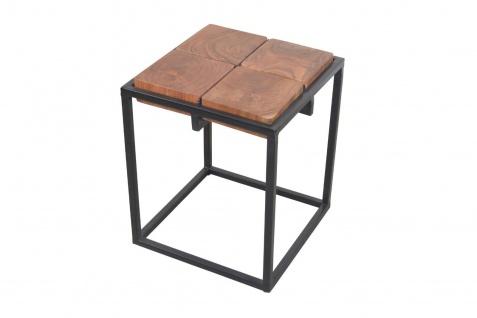 Beistelltisch natur schwarz Massivholz Eisengestell Couchtisch modern design
