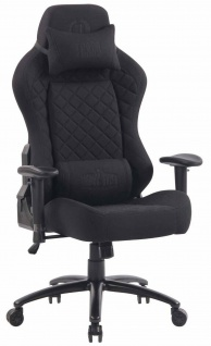 XL Bürostuhl 150 kg belastbar schwarz Stoffbezug Chefsessel Gaming Zocker Gamer