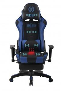 Bürostuhl blau Chefsessel Wärme- und Massagefunktion Gaming Gamer Zocker
