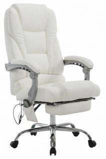 XXL Bürostuhl 150 kg belastbar weiß Kunstleder Chefsessel Massagefunktion NEU