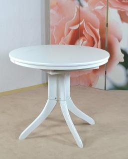 Auszugtisch rund weiß massiv Esszimmertisch Tisch Küchentisch Esszimmer Küche