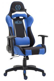 XL Bürostuhl schwarz blau Stoffbezug Bürostuhl modern design hochwertig Gamer