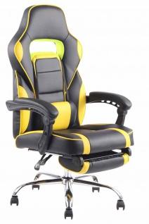 Bürostuhl 136kg belastbar schwarz gelb Kunstleder Chefsessel Fußablage Stütze