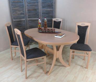 Tischgruppe Buche massivholz natur schoko Esstisch rund Auszug Stuhlset design