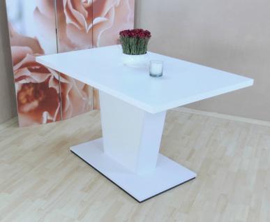 Säulentisch weiss Auszugtisch Esstisch Esszimmertisch Tisch ausziehbar auszug