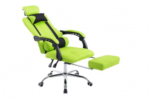 Chefsessel 115 kg belastbar grün Kopfstütze Fußablage design Bürostuhl modern