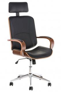 Bürostuhl 130 kg belastbar schwarz Kunstleder Chefsessel Holzrahmen Drehstuhl