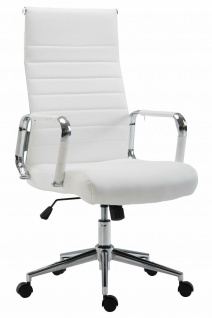 Bürostuhl 136 kg belastbar weiß / chrom Kunstleder Chefsessel Drehstuhl NEU