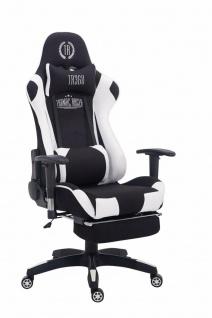 Chefsessel 150 kg belastbar schwarz weiß Stoff Bürostuhl Fußablage Zocker Gamer