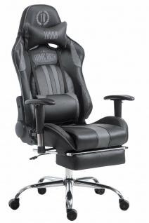 XL Chefsessel 150 kg belastbar schwarz grau Bürostuhl Fußablage Zocker Gamer