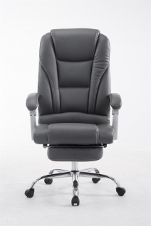 XXL Bürostuhl bis 150kg belastbar grau Kunstleder Chefsessel Fußablage Drehstuhl - Vorschau 2