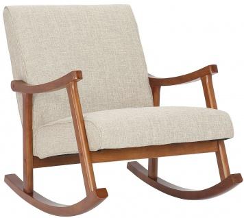 Schaukelstuhl walnuss/creme Stoffbezug Relaxsessel Schaukelsessel design modern