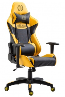 XXL Chefsessel 136kg belastbar Bürostuhl schwarz gelb Gaming Gamer hochwertig