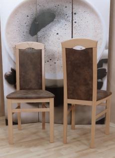 2er Set Esszimmerstühle massivholz Lederoptik natur schoko vintage Stuhlset neu