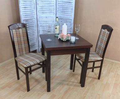 Tischgruppe 3 teilig massiv nuss dunkel beige braun Essgruppe günstig preiswert