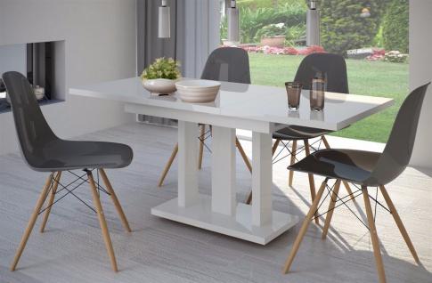 Säulentisch Hochglanz weiß 110 cm edler Esstisch ausziehbar Holz modern design
