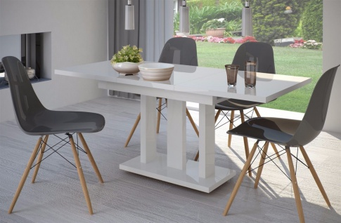 Säulentisch Hochglanz weiß 120 cm edler Esstisch ausziehbar Holz modern design