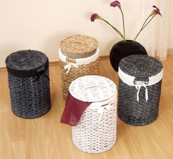 Wäschetruhe Wäschekorb Wäschebox Wäsche geflochten schwarz weiß natur rund