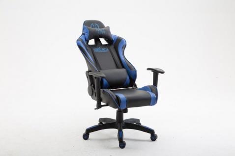 Bürostuhl schwarz blau Kunstleder Chefsessel Zockersessel Gaming belastbar
