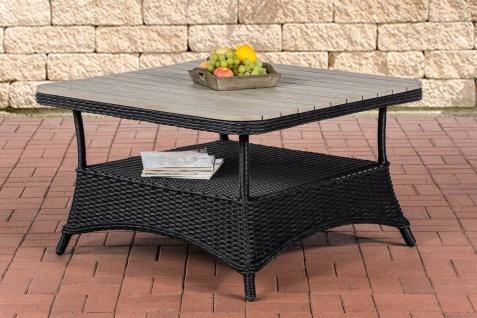 Rattan Gartentisch 100x100 schwarz Rattantisch Glastisch Balkon Terrasse Lounge