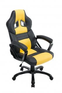XL Bürostuhl 150 kg belastbar schwarz gelb Kunstleder Chefsessel hochwertig NEU