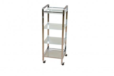 Metallregal 4 Böden Regal Badregal Küchenregal Standregal Milchglas Stahl modern