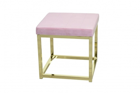 moderner Hocker Rosa / Messing Hockerbank Polsterhocker Sitz design Sitzwürfel