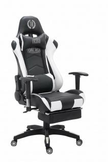 Chefsessel 150kg belastbar schwarz weiß Bürostuhl Fußablage Zocker Gamer Gaming