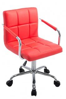 Bürostuhl Kunstleder rot Drehstuhl Arbeithocker moderner look design belastbar