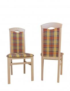 2x Esszimmerstühle massivholz Buche gelb braun kariert Polster Stuhlset 2er Set